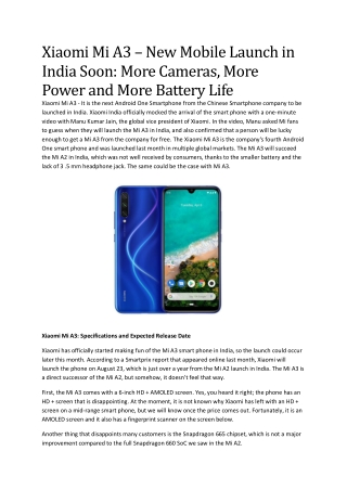 Xiaomi Mi A3 – New Mobile Launch in India Soon: More Cameras, More Power and More Battery Life