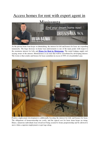Access homes for rent with expert agent in Mississauga by www.irfanbajwa.com