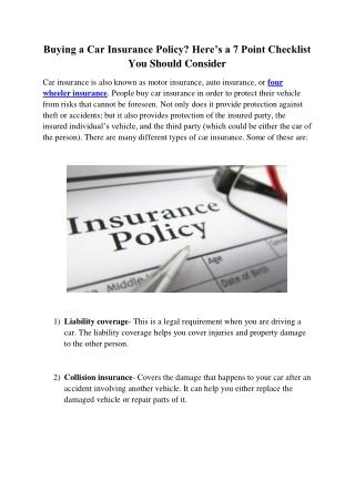 4 Wheeler Insurance online