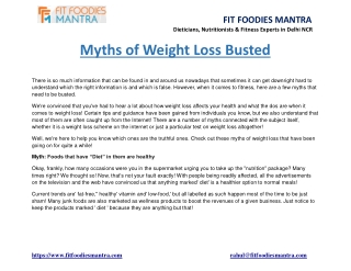 Myths of Weight Loss Busted