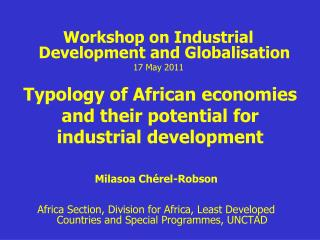 Typology of African economies and their potential for industrial development