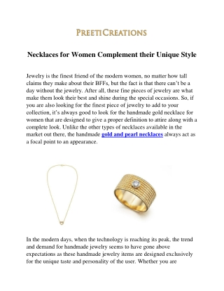 Necklaces for women complement their unique style