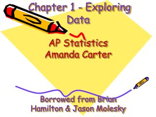 Chapter 1 - Exploring Data AP Statistics Amanda Carter  Borrowed from Brian Hamilton & Jason  Molesky