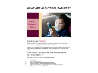 WHAT ARE ALBUTEROL TABLETS?
