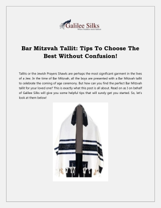 Bar Mitzvah Tallit: Tips To Choose The Best Without Confusion!