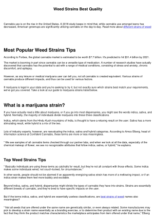 Different Weed Strains No Scams