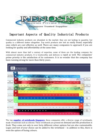 Important Aspects of Quality Industrial Products
