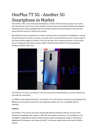 OnePlus 7T 5G - Another 5G Featured Mobile in Market