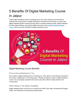 5 Benefits Of Digital Marketing Course in Jaipur