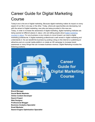 Career Guide for Digital Marketing Course