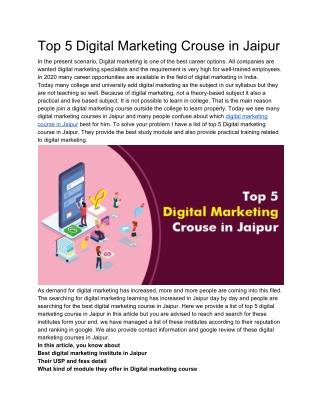 Top 5 Digital Marketing Crouse in Jaipur