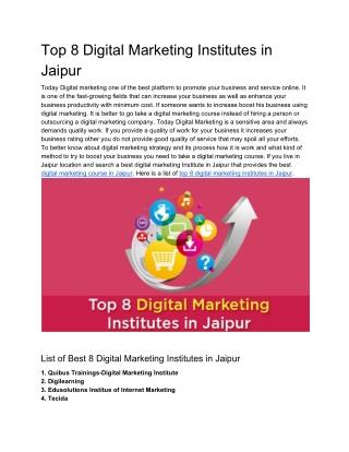 Top 8 Digital Marketing Institutes in Jaipur