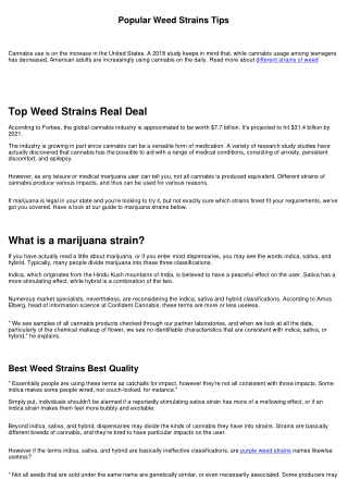 Best Weed Strains Real Deal