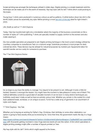 Leading Advice on T T Shirt Daytona