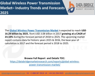 Global Wireless Power Transmission Market– Industry Trends and Forecasts 2025