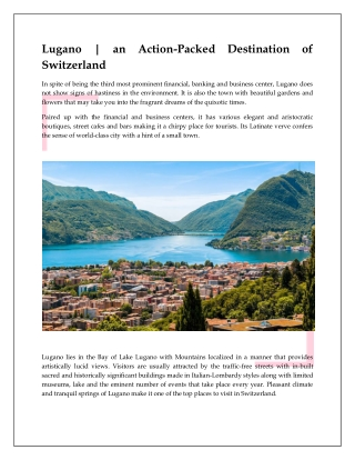Lugano | an Action-Packed Destination of Switzerland