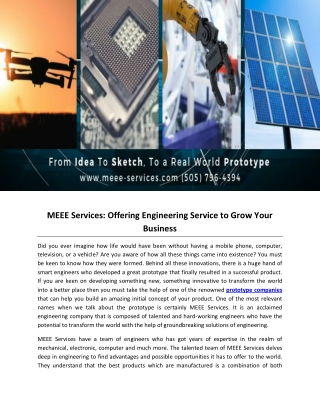 MEEE Services: Offering Engineering Service to Grow Your Business