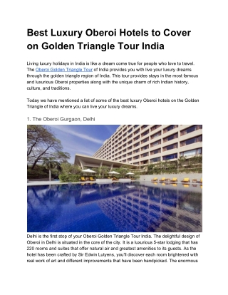 Best Luxury Oberoi Hotels to Cover on Golden Triangle Tour India