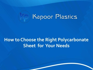 How to choose the right polycarbonate sheet for your needs