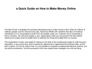 a Quick Guide on How to Make Money Online