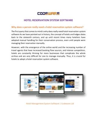 Hotel Reservation System Software | Codeware Ltd.