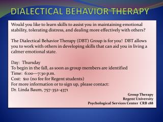 Dialectical behavior THERAPY  TH therapy