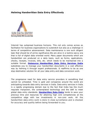 Helming Handwritten Data Entry Effectively