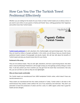 How Can You Use The Turkish Towel Peshtemal Effectively