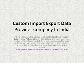 Customs Data India Provider