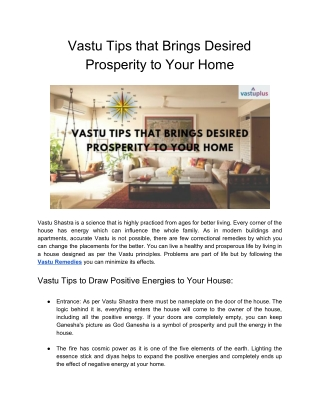 Vastu Tips that Brings Desired Prosperity to Your Home
