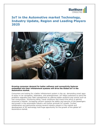 IoT in the Automotive market Technology, Industry Update, Region and Leading Players 2025