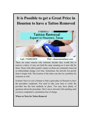 It is Possible to get a Great Price in Houston to have a Tattoo Removed