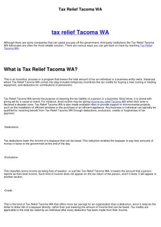 Tax Relief Tacoma WA
