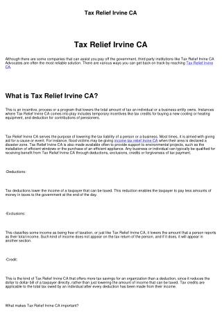 Tax Relief Irvine CA