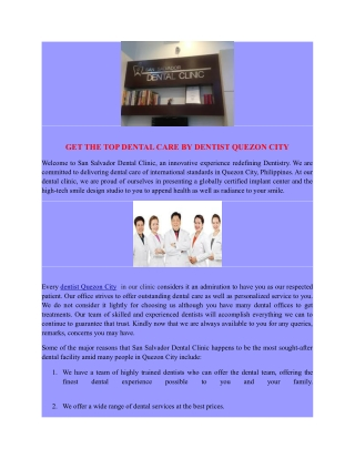 GET THE TOP DENTAL CARE BY DENTIST QUEZON CITY