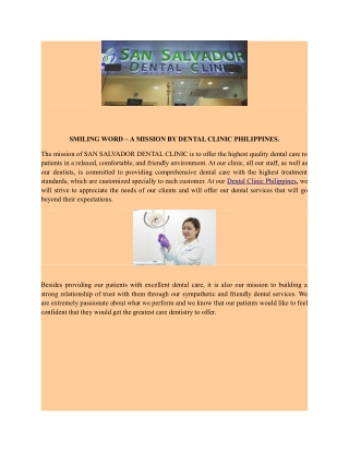 SMILING WORD – A MISSION BY DENTAL CLINIC PHILIPPINES.
