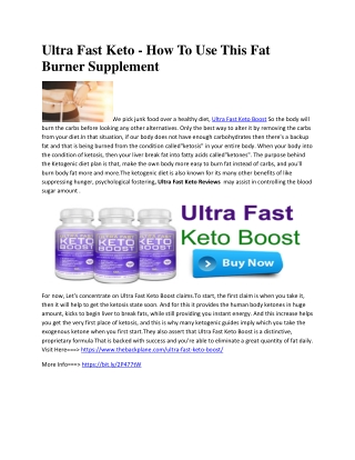 Ultra Fast Keto - Know About Weight Loss Benefits