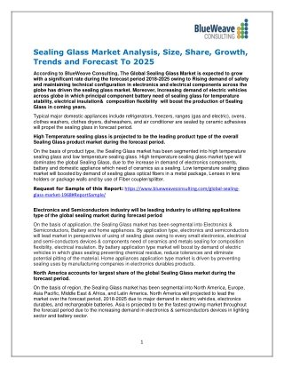 Sealing Glass Market Analysis, Size, Share, Growth, Trends and Forecast To 2025