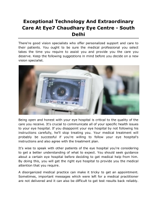 Exceptional Technology And Extraordinary Care At Eye7 Chaudhary Eye Centre - South Delhi
