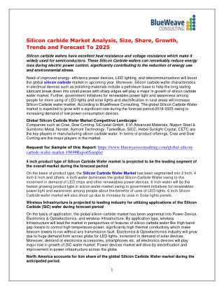 Silicon carbide Market Analysis, Size, Share, Growth, Trends and Forecast To 2025