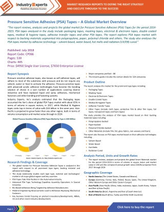 Pressure Sensitive Adhesive (PSA) Tapes – A Global Market Overview