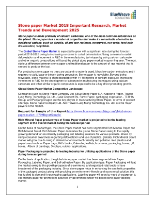 Stone paper Market 2018 Important Research, Market Trends and Development 2025