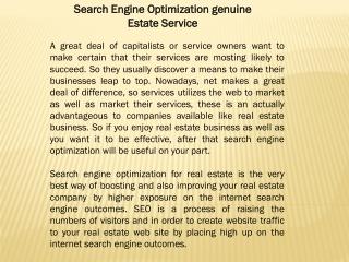 Search Engine Optimization genuine Estate Service