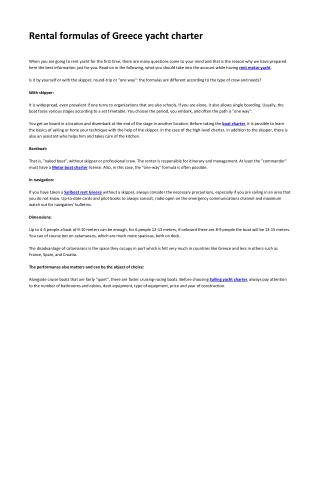 Rental formulas of Greece yacht charter