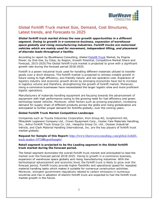 Forklift Truck Market Analysis,Market Insights, Trends& Outlook 2025