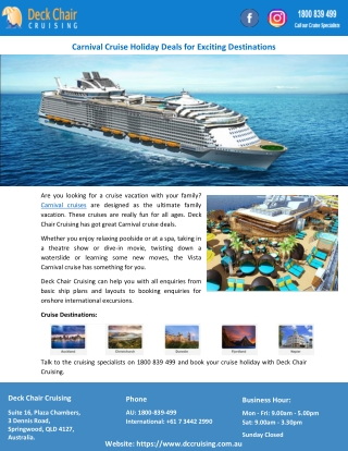 Carnival Cruise Holiday Deals for Exciting Destinations