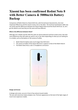 Xiaomi has been confirmed Redmi Note 8 with Better Camera & 5000mAh Battery Backup