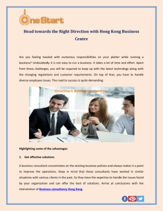 Head towards the Right Direction with Hong Kong Business Centre