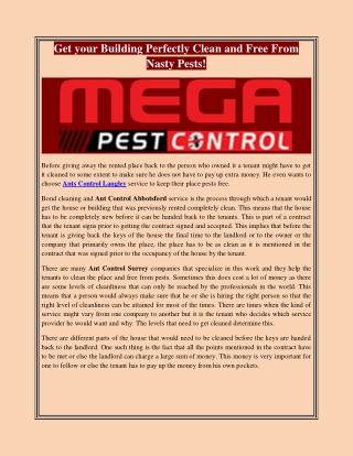 Get your Building Perfectly Clean and Free From Nasty Pests!