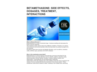 BETAMETHASONE: SIDE EFFECTS, DOSAGES, TREATMENT, INTERACTIONS